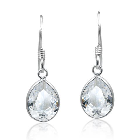 Handmade Sparkling Oval Shaped White Cubic Zirconia Sterling Silver Dangle Earrings (Thailand)