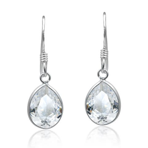Handmade Sparkling Elegance Oval Shaped Cubic Zirconia Sterling Silver Dangle Earrings (Thailand)