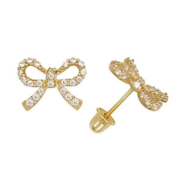 14K Solid Yellow//white Gold Cz Stud Earrings w// Screw Back