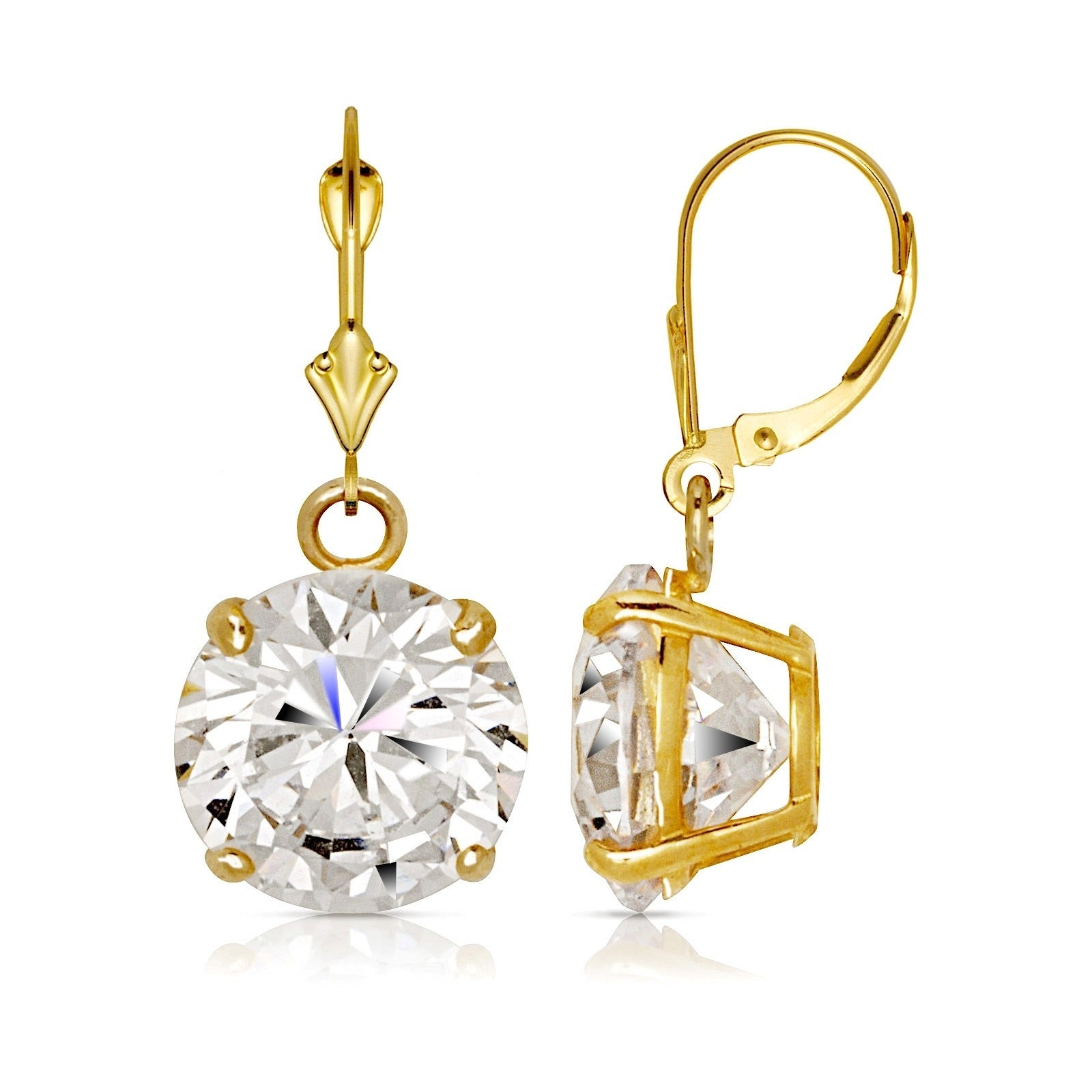 14K SOLID WHITE GOLD 6MM ROUND CZ DROP DANGLE LEVER BACK EARRINGS
