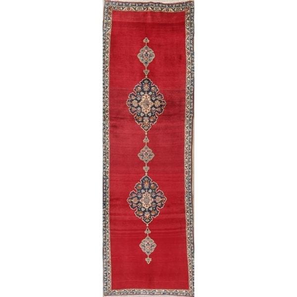 """Kashan Geometric Handmade Wool Persian Oriental Oriental Rug - 9'11"""" x 3'1"""" Runner"""