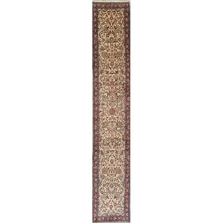 "Sarouk All-Over Floral Handmade Wool Persian Oriental Rug - 15'6"" x 2'8"" Runner"