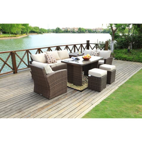 7-piece Grey Wicker Patio Furniture Set with Beige Cushions
