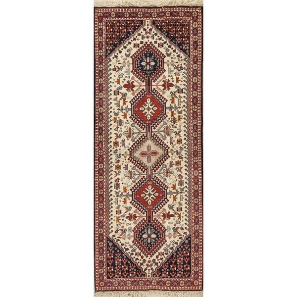 "One of a Kind Yalameh Geometric Handmade Wool Persian Oriental Rug - 6'6"" x 2'5"" Runner"