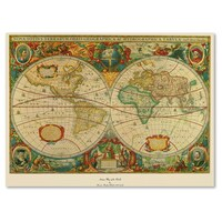 Icanvas antique double hemisphere map of the world hondius canvas old world map painting on canvas gumiabroncs Gallery