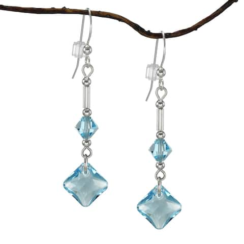 Handmade Jewelry by Dawn Aquamarine Princess Cut Crystal Drops with Bicone Earrings (USA)
