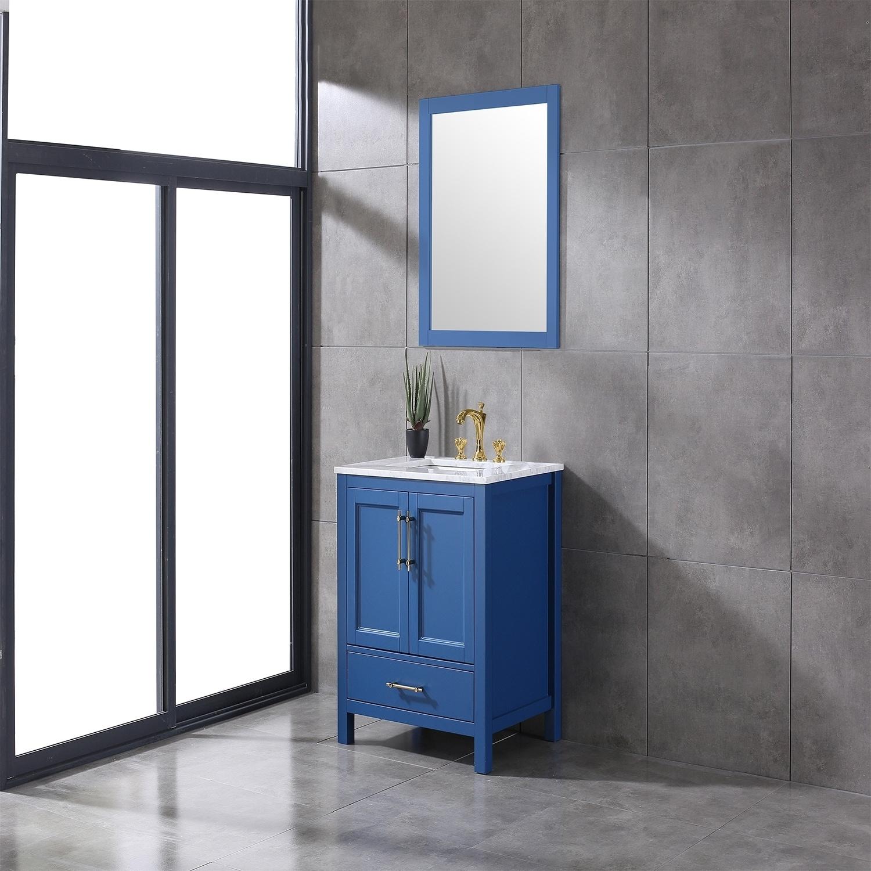 Eviva Navy 30 inch Deep Blue Transitional Bathroom Vanity ...