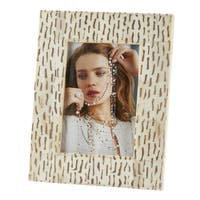 Saro Lifestyle Dashed Bone Wide-border Photo Frame