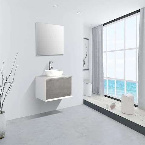 Eviva Santa Monica 36 inch Gray Wall Mount Bathroom Vanity with Solid Surface Vessel Sink