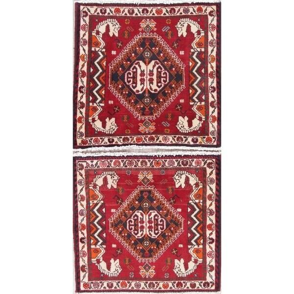"Pack of 2 Abadeh Tribal Geometric Handmade Wool Persian Oriental Rug - 2'0"" x 2'2"" Square"