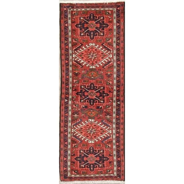 """Gharajeh Tribal Geometric Handmade Wool Persian Oriental Rug - 6'5"""" x 2'3"""" Runner"""