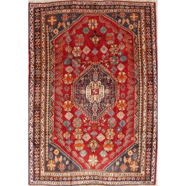 "Abadeh Tribal Geometric Hand-Knotted Wool Persian Oriental Area Rug - 7'8"" x 5'4"""