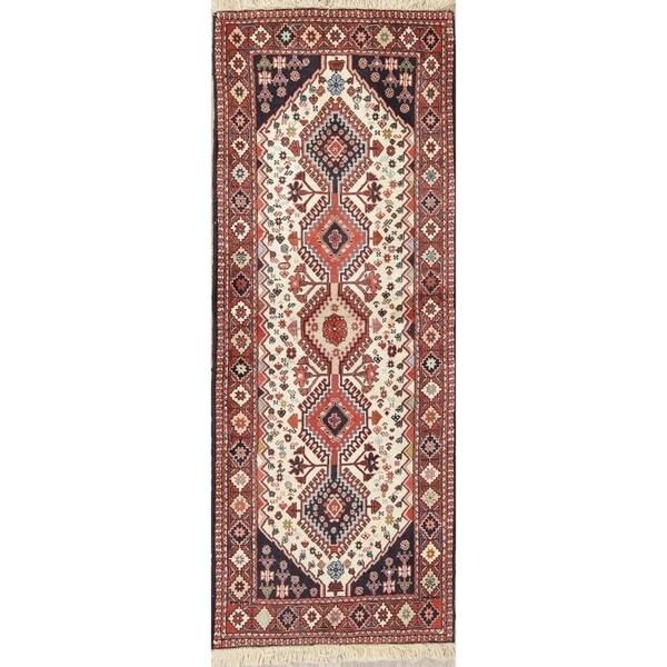 "One of a Kind Yalameh Geometric Handmade Wool Persian Oriental Rug - 6'4"" x 2'5"" Runner"