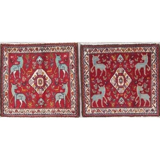 """Pack of 2 Abadeh Tribal Animal Pictorial Handmade Wool Persian Rug - 2'0"""" x 2'1"""" Square"""