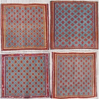 """Pack of 4 Abadeh All-Over Geometric Handmade Wool Persian Oriental Rug - 2'1"""" x 2'0"""" Square"""