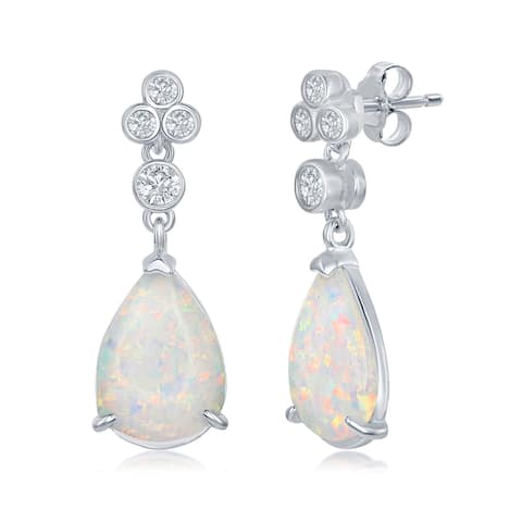La Preciosa Sterling Silver/Rose Gold Pear-Shaped White Created Opal with Triple Cubic Zirconia Cluster Earrings