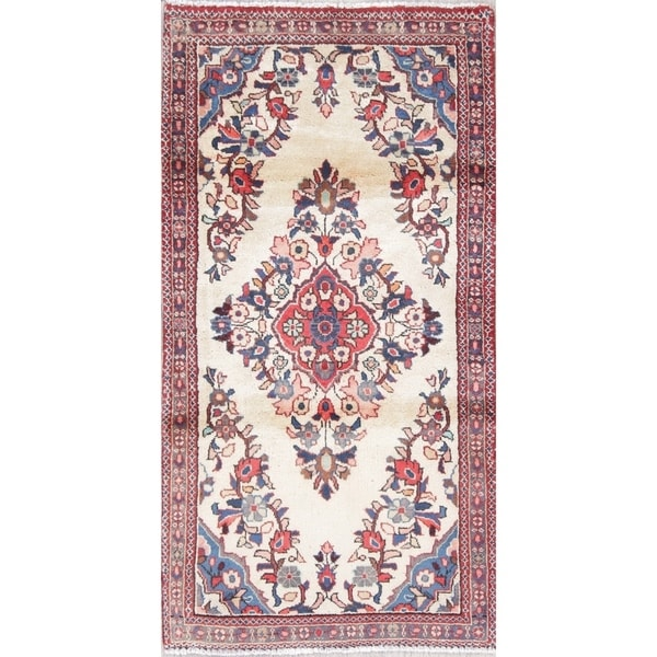 "One of a Kind Kashan Floral Handmade Wool Persian Oriental Area Rug - 3'11"" x 2'0"""