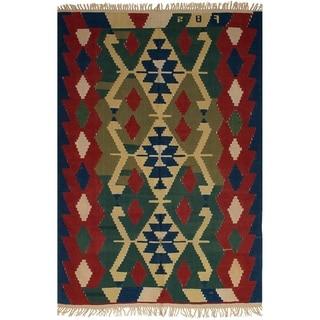 eCarpetGallery  Flat-weave Ankara FW Navy Blue, Red Wool Kilim - 5'8 x 8'11