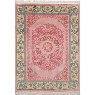eCarpetGallery  Hand-knotted Aubousson Pink Wool Rug - 7'0 x 10'0