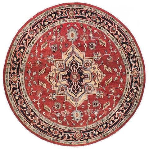 eCarpetGallery Hand-knotted Serapi Heritage Dark Burgundy Wool Rug - 6'1 x 6'1