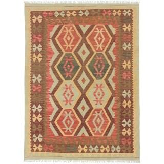 eCarpetGallery  Flat-weave Sivas Dark Burgundy, Light Orange Wool Kilim - 5'0 x 6'9