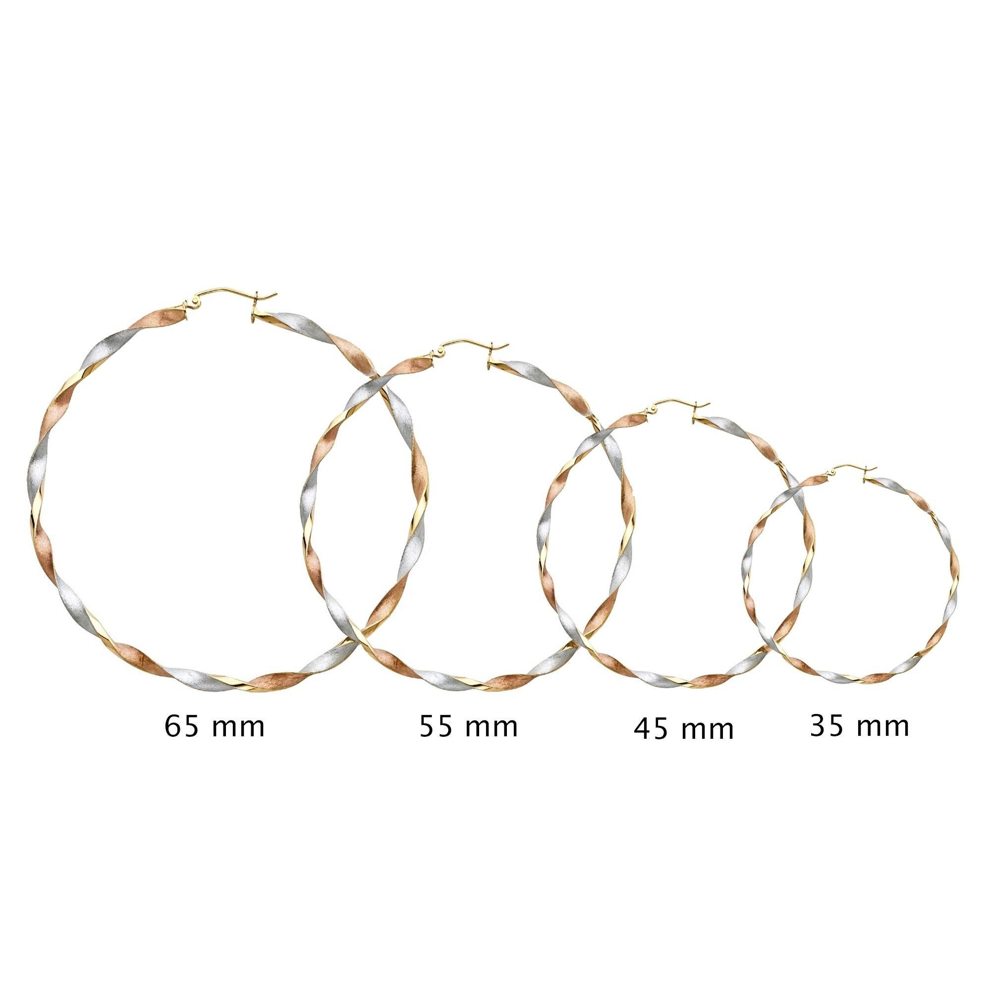 45mm X 45mm 14k 3mm Thick Tri-Color Gold Diamond-Cut Hoop Earrings,