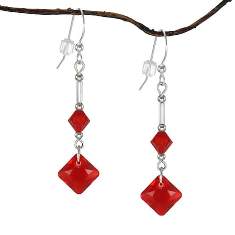 Handmade Jewelry by Dawn Light Siam Red Princess Cut Crystal Drops with Bicone Earrings (USA)
