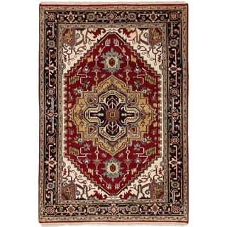 eCarpetGallery Hand-knotted Serapi Heritage Dark Red Wool Rug - 4'0 x 5'11