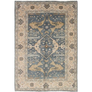 eCarpetGallery  Hand-knotted Royal Ushak Dark Grey Wool Rug - 6'2 x 8'10