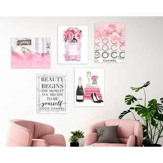 The Stupell Home Decor Collection Pink Glam Fashion 5 Piece Gallery Wall Art Set