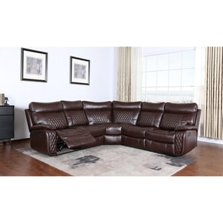 Iris 3-piece Brown Leather Reclining Sectional Sofa