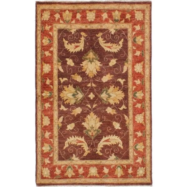 eCarpetGallery Hand-knotted Chobi Finest Burgundy Wool Rug - 3'10 x 6'3
