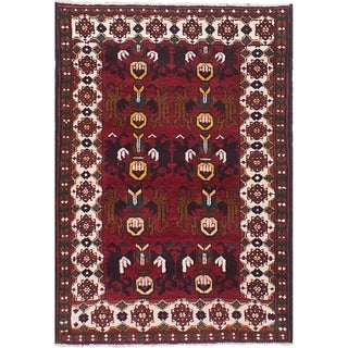 eCarpetGallery  Hand-knotted Royal Baluch Dark Red Wool Rug - 3'0 x 4'8