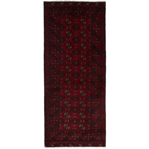 eCarpetGallery Hand-knotted Khal Mohammadi Dark Red Wool Rug - 2'7 x 6'4