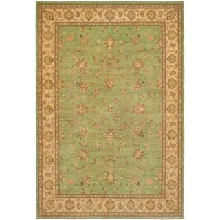 eCarpetGallery  Hand-knotted Chobi Finest Light Green Wool Rug - 6'8 x 9'9