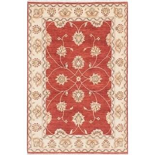 eCarpetGallery  Hand-knotted Chobi Twisted Dark Burgundy Wool Rug - 4'1 x 6'3