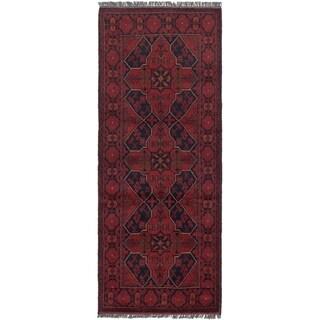 eCarpetGallery Hand-knotted Finest Khal Mohammadi Dark Red Wool Rug - 2'7 x 6'4