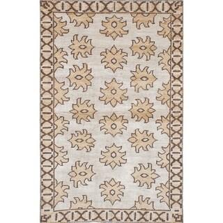 eCarpetGallery  Hand-knotted La Seda Cream Silk, Wool Rug - 5'1 x 7'11