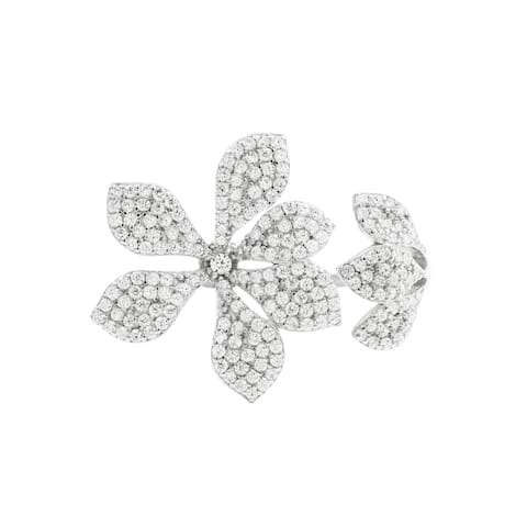 Luxiro Sterling Silver White Cubic Zirconia Open Flower Ring