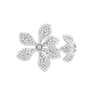Link to Luxiro Sterling Silver White Cubic Zirconia Open Flower Ring Similar Items in Necklaces
