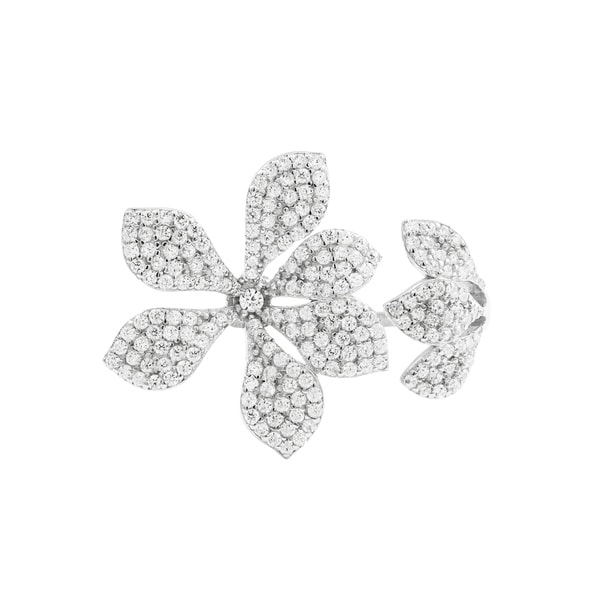 Luxiro Sterling Silver White Cubic Zirconia Open Flower Ring. Opens flyout.