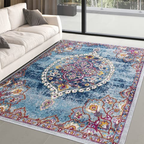 Distressed Vintage Floral or Abstract Area Rug