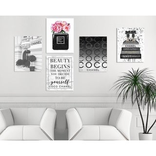 The Stupell Home Decor Collection Black and White Glam Fashion 5 Piece Gallery Wall Art Set