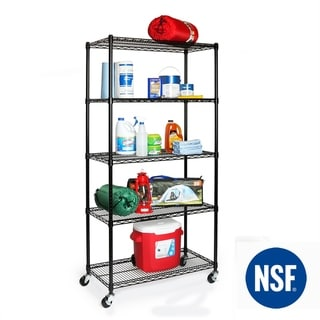 Seville Classics 36 in W x 18 in D x 72 in H UltraDurable Commercial-Grade 5-Tier NSF-Certified Steel Wire Shelving with Wheels