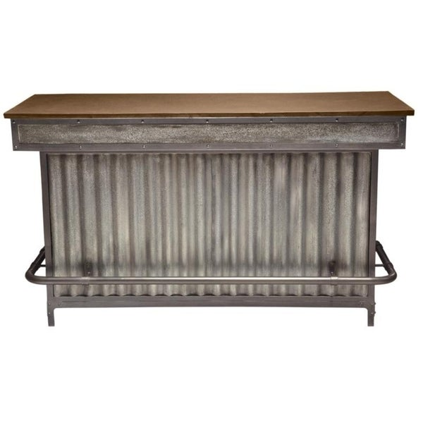 Weathered Metal and Vintage Wood Finish Home Bar
