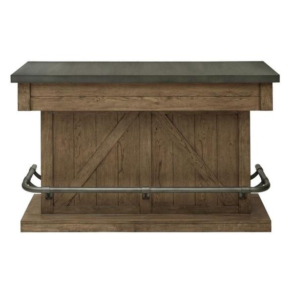 Rustic Industrial Light Oak Finish Home Bar