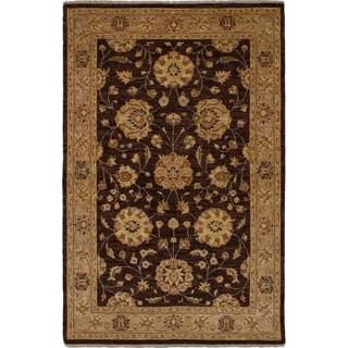 eCarpetGallery  Hand-knotted Chobi Finest Dark Brown Wool Rug - 4'0 x 6'2