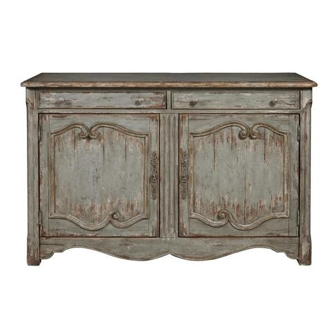 Weathered Blue Distressed Finish Two Door Wine and Bar Cabinet Chest