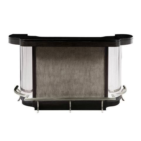 Retro Modern Mosaic Mirrored Black Finish Home Bar