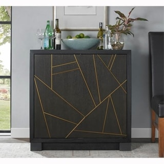 Modern Black Finish Rotating Wine and Bar Cabinet Chest